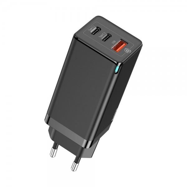 Baseus adapter/punjač  GaN 2xUSB Type C + 1xUSB QC 3.0 PD 3.0 65W 5A (CCGAN-B01) crni
