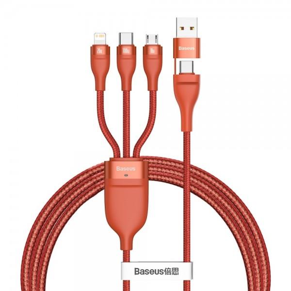 Baseus USB kabel Flash CA2T3-07 3u1 USB / Tip-C na Tip-C / Lightning / micro USB 100W Narančasti (1.2M)