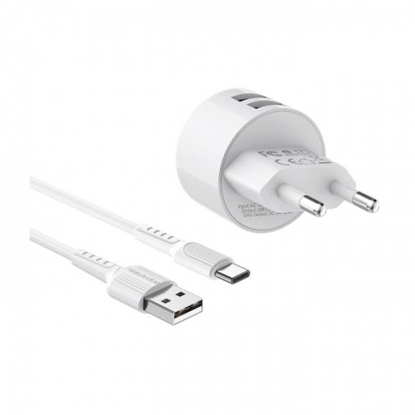 BOROFONE Kućni punjač- 2.4A plug +  Type C kabel A23A