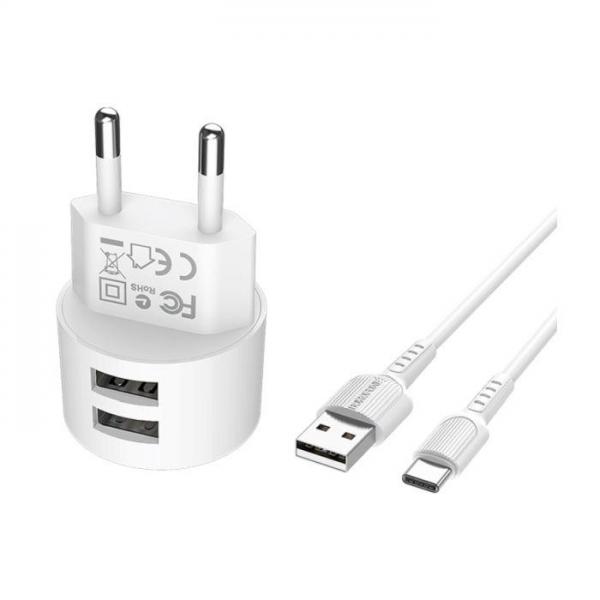 BOROFONE Kućni punjač- 2.4A plug +  Type C kabel A23A BORO-A23A Mobilab, servis i prodaja mobitela, tableta i računala