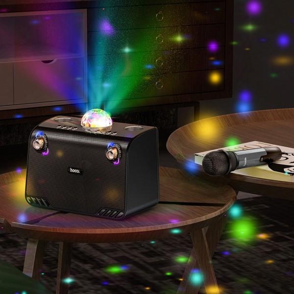 HOCO Zvučnik bežični bluetooth karaoke + bežični mikrofon Warm Sound BS41 crna (+ FBT, TF, USB, AUX)