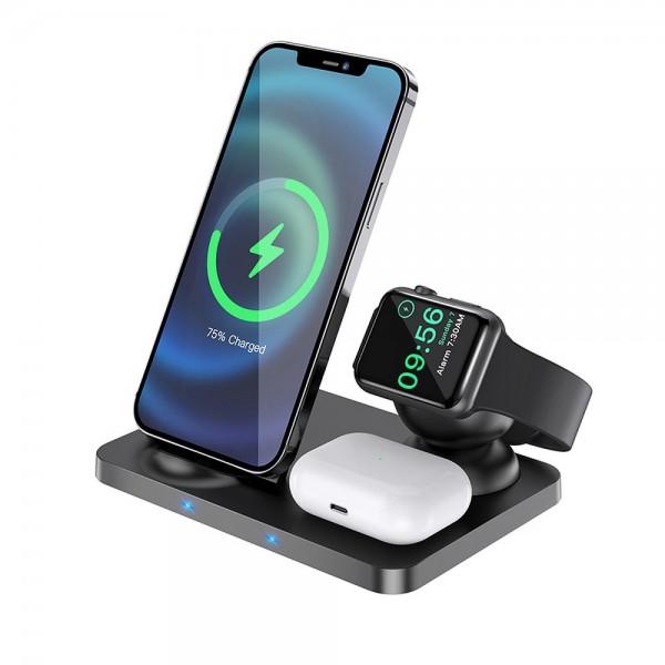 HOCO Bežični brzi punjač 3in1 LED za mobitel + Airpods + Apple Watch Ultra Charge CW33 crni