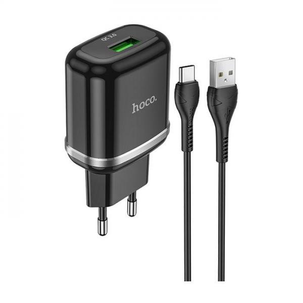 HOCO adapter/punjač - 18W 1x USB QC3.0 + Type-c kabel N3 set