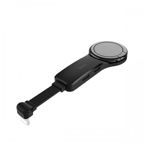 Hoco Adapter - Lightning + 2 x Lightning + ring držač - LS22