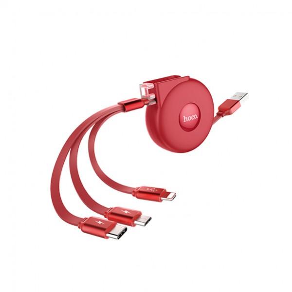 HOCO USB kabel -  3in1 micro/type c/lightning - U50 1M