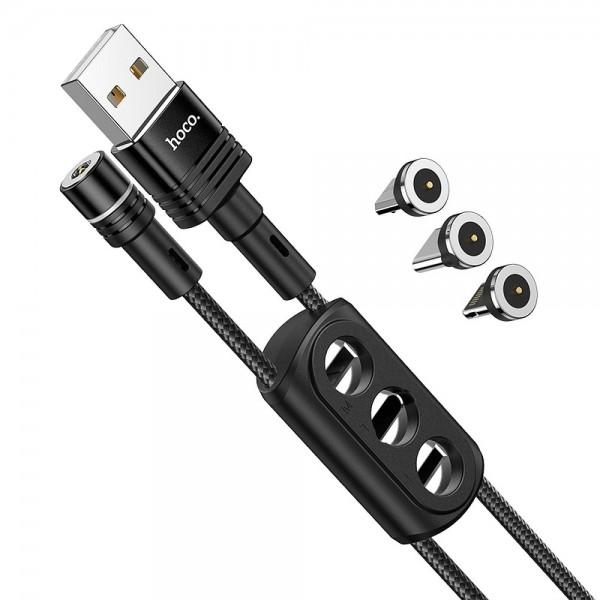 HOCO magnetni kabel 3in1 (Type C + Micro + Iphone Lightning) 2,4A U98 1,2m crni