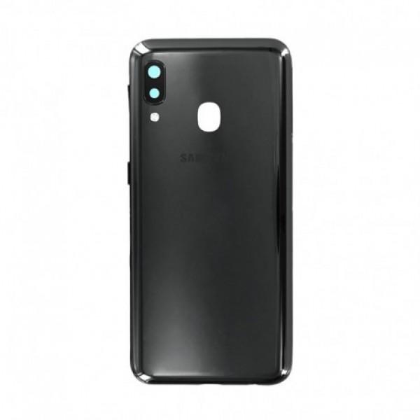 Poklopac baterije Samsung A202,A20E + lens kamere crni zamjenski