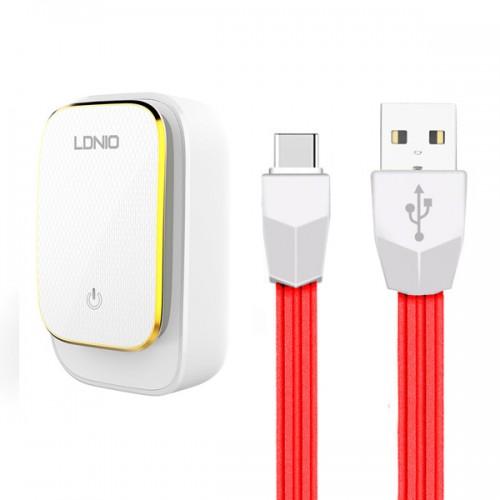 Ldnio kućni punjač/adapter A4405 4xUSB 4,4A s LED svjetiljkom osjetljivom na dodir + USB kabel Type C