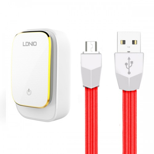 Ldnio kućni punjač/adapter A4405 4xUSB 4,4A s LED svjetiljkom osjetljivom na dodir + USB kabel Micro