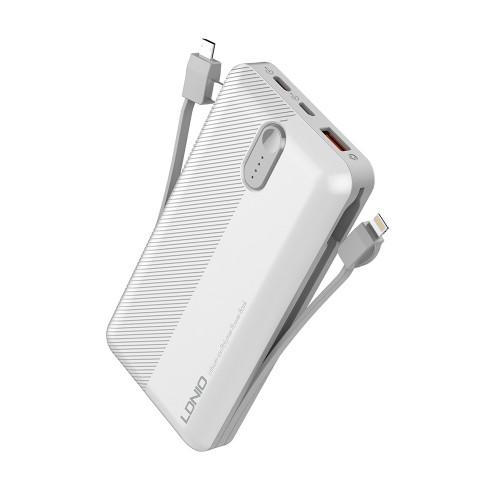 Ldnio Power Bank> PL1013 1xUSB 10000mAh + 3 u 1 Micro USB cable, USB Type C, Lightning kabel