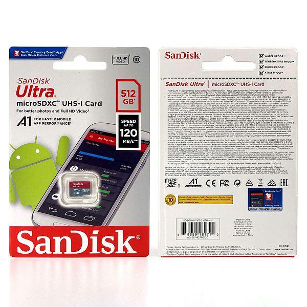 SANDISK MEMORIJSKA KARTICA MicroSDHC ULTRA 120MB/s 512GB