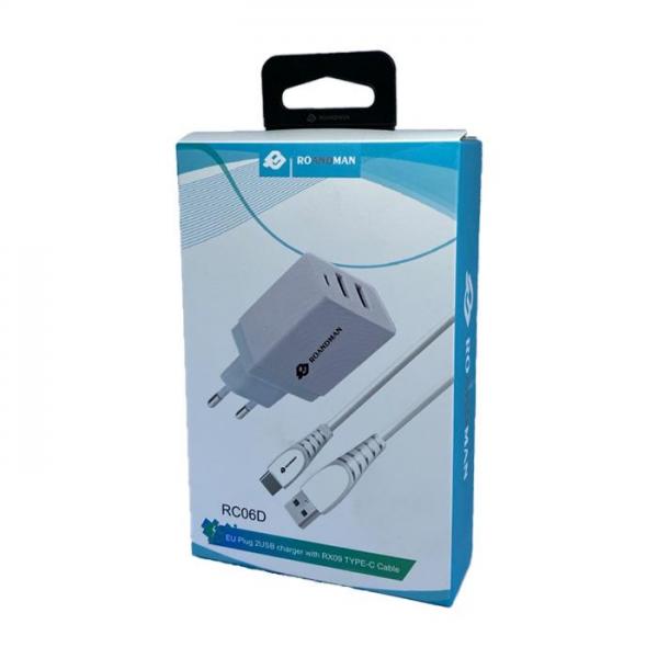 RO&MAN Kućni punjač - 2.1A 2x USB plug + Type-C kabel RC06D - Bijeli