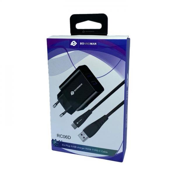 RO&MAN Kućni punjač - 2.1A 2x USB plug + Type-C kabel RC06D - Crni