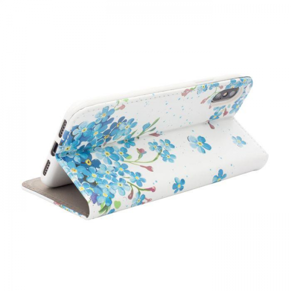 Torbica preklopna iPhone X/XS blue flowers - Decor book