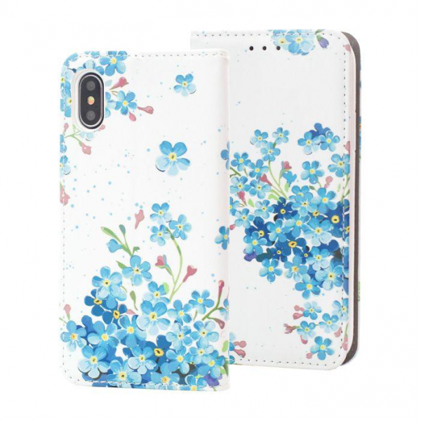 Torbica preklopna SAMSUNG S9 Plus blue flowers - Decor book