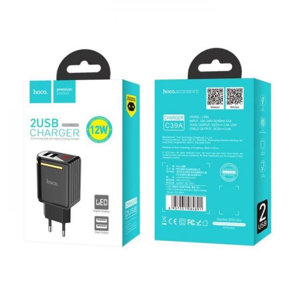 HOCO adapter/punjač - 2.4A 2x USB (LED display) plug C39A C39A Mobilab, servis i prodaja mobitela, tableta i računala