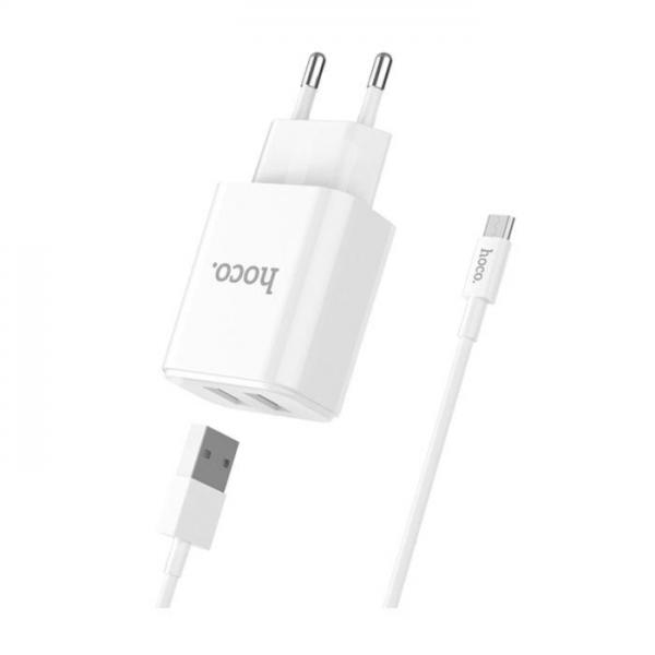 HOCO Kućni punjač - 2.1A 2x USB plug + micro USB cable C62A