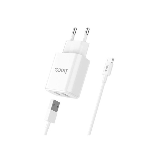 HOCO Kućni punjač - 2.1A 2x USB plug + type-C cable C62A