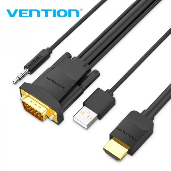 VENTION KABEL HDMI NA VGA + AUDIO 3.5 mm i USB MUŠKI 2m ABIBH CRNI