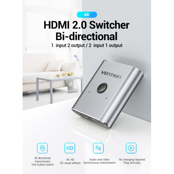 VENTION HDMI SWITCH PREKLOPNIK DVOSMJERNI AFUH0 SREBRNI