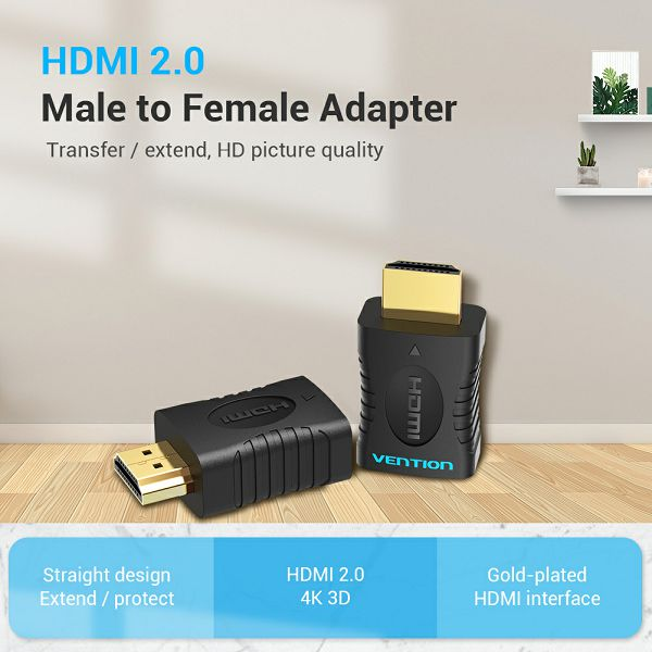 VENTION ADAPTER HDMI MUŠKI NA HDMI ŽENSKI 4K 60 Hz AIAB0 CRNI