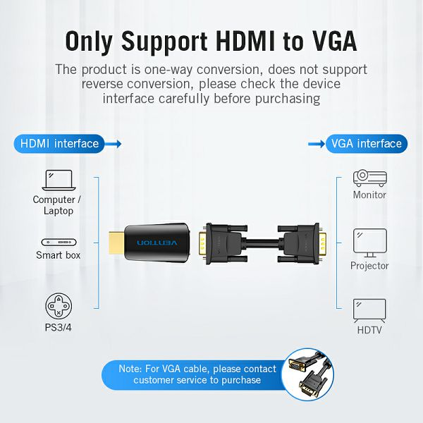 VENTION ADAPTER HDMI MUŠKI NA VGA ŽENSKI + AUDIO 3.5 mm ŽENSKI AIDB0 CRNI
