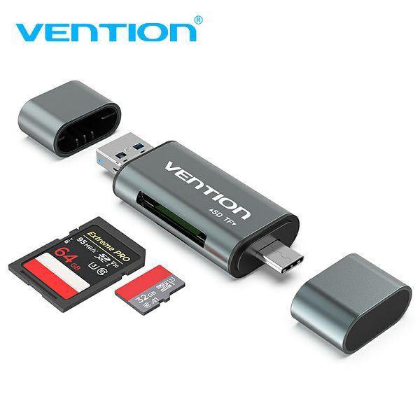 VENTION ČITAČ KARTICA SD I MICRO, TYPE C I USB 2.0 CCJH0 SIVI